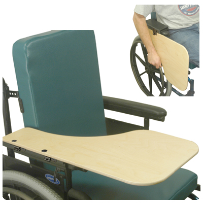 Wheelchair Woodgrain Flip Down Half Tray