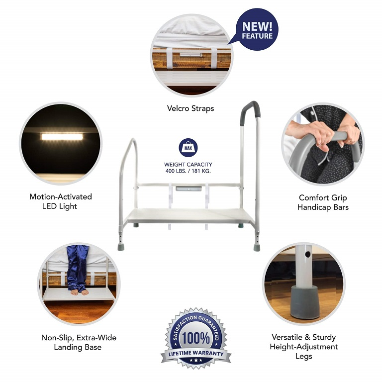 Step2Bed Hand Safety Rail and Step : non-slip wide step with dual grab bars for safe bed transfers