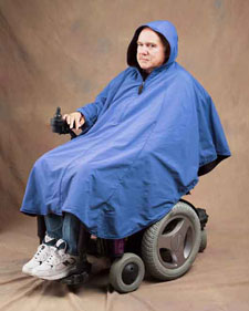 Fleece Lined Hooded Poncho Water Repellent Wheelchair