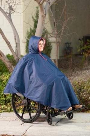 Wheelchair Rain Poncho in Navy