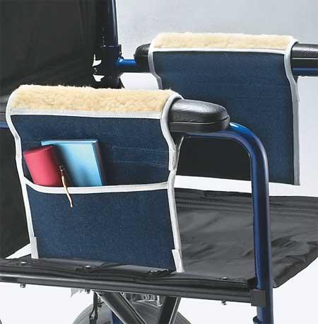 Fleece Wheelchair Armrest Pouches : Provides Skin Protection, Convenient  Storage.